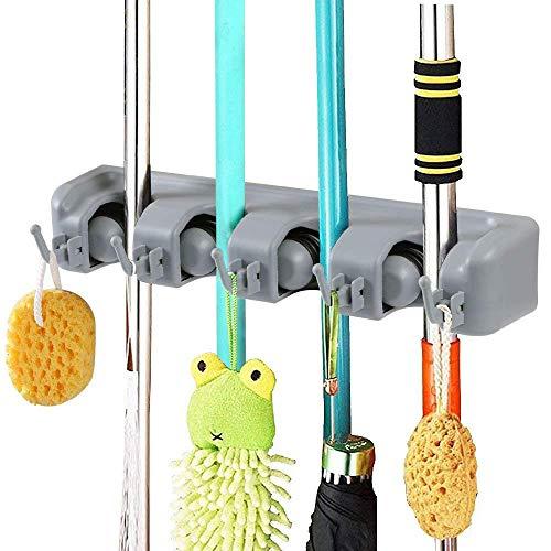 Vicloon Besenhalterung, Besen Mop Halter mit 5 Haken und 4 Schnellspannern, Ordnungsleiste Wandhalter für Küche Badezimmer Garten Multifunktionen