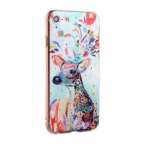 Voguecase® für Apple iPhone SE hülle, Schutzhülle / Case / Cover / Hülle / TPU Gel Skin (Aquarell Blätter) + Gratis Universal Eingabestift Aquarell/Hirsch 01