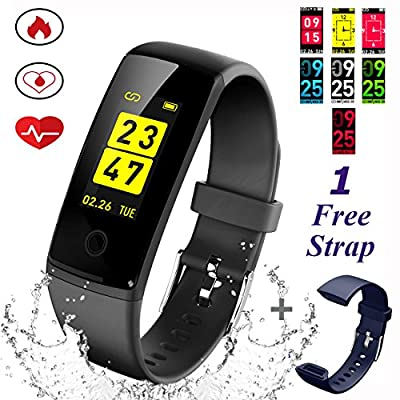 Fitness Trackers (New Design) Smart Bracelet, 0.96inch OLED Colorful Display Activity Tracker Watches with Heart Rate/Blood Pressure/Sleep Monitor Calories Pedometer,Call / SMS Reminder USB Rechargeable 150mAh Battery for iOS and Android from DWG
