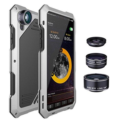 Coolshow iPhone X Handy Shell IP 54Kratzfest Staub und stoßfest Aluminium iPhone X Handy Shell mit 3zu 1Objektiv Set 198Grad Weitwinkel Objektiv + 0,63x Weitwinkelobjektiv