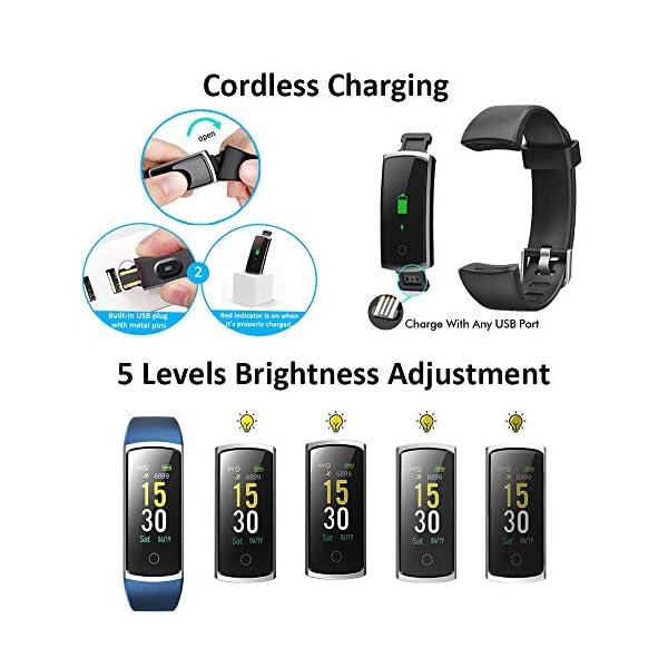 Lintelek Pulsera Actividad Impermeable, Reloj Inteligente con Pulsómetro y Tensiómetro, Reloj Deportivo con GPS Compatible a Android y iPhone 7