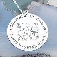 Collar de Plata de 1º LEy 925. grabado láser GRACIAS PROFE POR ENSEÑARNOS CON EL CORAZON. Gargantilla para profesor. Envio GRATIS!