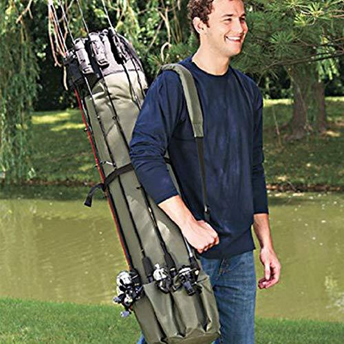 Allround Rutentasche - Rutenfutteral,Angelrute Tasche,Rutentasche Angeltasche Angelkoffer,Angelrolle mit großer Kapazität(Grün)