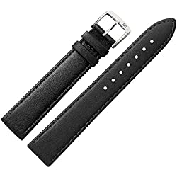 22mm Black Leather Watch strap, MARBURGER to Fine Genuine Leather Watch Strap With A Very Discreet Bombage Suits Flat Watch-MARBURGER Since 1945Watch Straps-Black/Silver