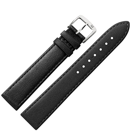 Cinturino 22 mm nero pelle, senza pasta di legno vero cuoio - Marburger strap con molto sobrio Bombage - adatto a piatti orologi - Marburger cinturini dal 1945 - Colore nero/argento