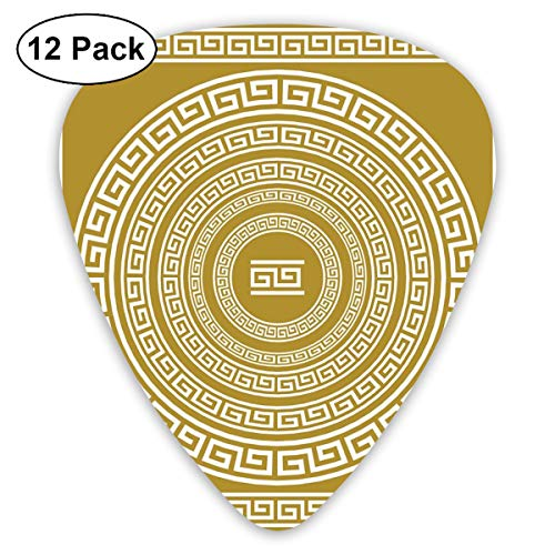 Celluloid Guitar Picks - 12 Pack,Abstract Art Colorful Designs,Frieze With Vintage Ornament Meander Pattern From Greece Retro Twist Lines,For Bass Electric & Acoustic Guitars.