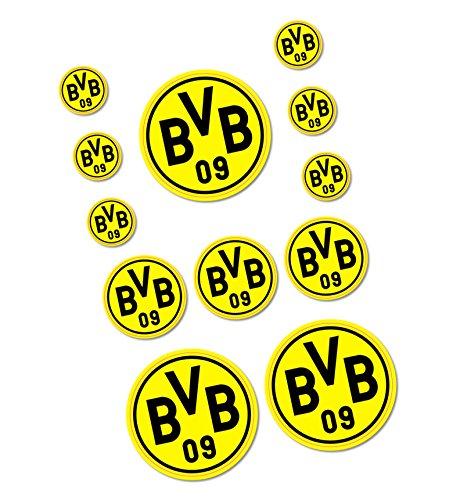 Borussia Dortmund Aufkleberbogen / Aufkleber / Sticker 12er Set - plus 1x gratis Aufkleber forever Dortmund