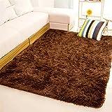 Tappeto morbido rettangolare antiscivolo per la casa, camera da letto, soggiorno, pavimento., Coffee, 80*120cm