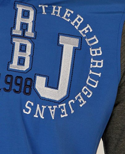 Red Bridge Herren Professionel Design Langarm Hemd im Materialmix Blau Saxe Blau