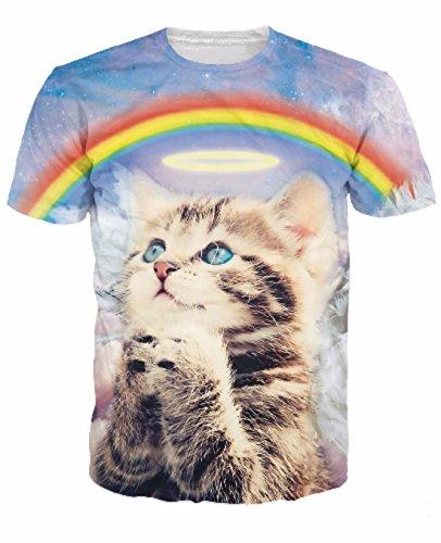 Men's 3D Killer Laser Kitty Printed Casual Tee Shirt 9