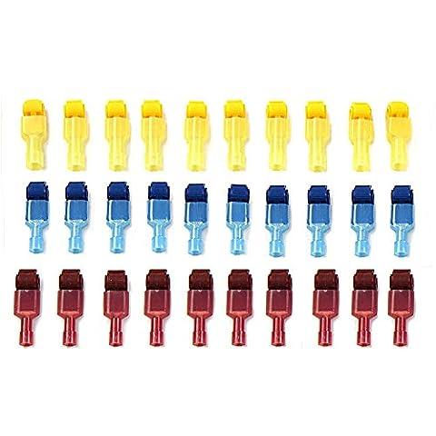 WINGONEER 60Pcs (30 Paar) Quick Splice Elektrische Drahtklemmen und T-Tap Nylon Vollständig isolierte männliche Spatenverbinder Set
