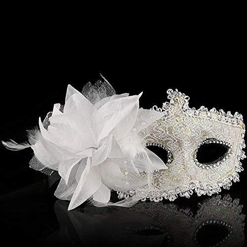White Maske Masquerade Kostüm - QTJKH Horror Maske Venezianische Maskerade Masken Venezianische Maske Venice Flower Party Performance Lila Kostüm Masquerade @ White