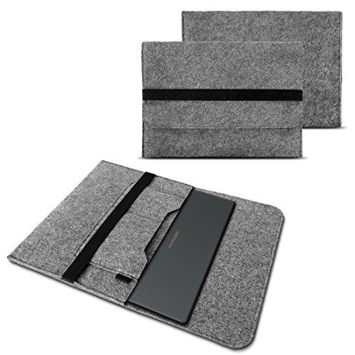 NAUC Sleeve Hülle für Medion Akoya E2216T E2228T Notebook Tasche Laptop Cover strapazierfähiger Filz mit Innentaschen und sicherem Verschluss Grau