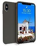 MyGadget Hardcase Hülle [Gummiert] für Apple iPhone XS/X - Schutzhülle Case mit Soft Touch Silikon Finish - Slim Schutz Back Cover Stoßfest in Schwarz