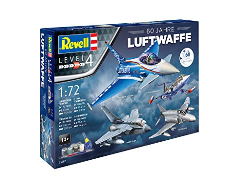 """Revell Modellbausatz Flugzeug 1:72 - Geschenkset 60 Jahre """"Luftwaffe"""" im Maßstab 1:72, Level 4"""