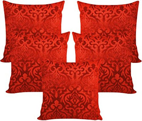 AMAZON GREAT INDIAN FESTIVAL SALE DISCOUNT - Belive-Me Velvet Floral Red Cushion Covers (16X16 Inches) Set of 5