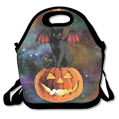 Halloween Bat Cat Lunch Bag Tote Handbag Lunchbox For School Work Outdoor