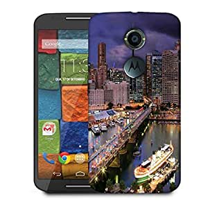 Snoogg Abstract Buildings At Night Designer Protective Phone Back Case Cover For Moto X 2nd Generation