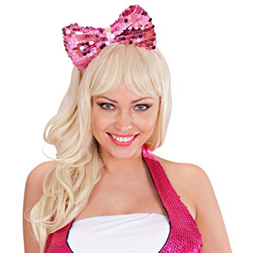 NET TOYS Haarreif mit Schleife Pailletten Haarschmuck pink 80er Jahre Haarschmuck Achtziger Haarband...