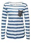 Key Largo Damen Langarmshirt Longsleeve Casual Print Shirt Blue S