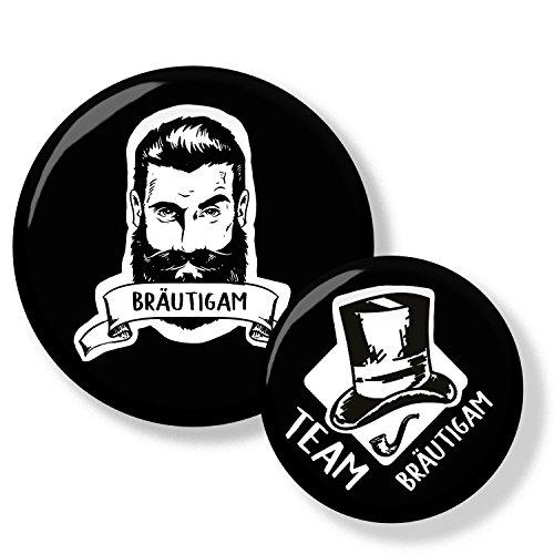 Polarkind 12er Set JGA Männer Buttons mit Bart und Zylinder im Vintage Stil für Junggesellinnenabschied Bachelor Feier Party Handmade