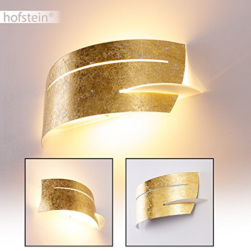 Design-wand-lampe (Metall-Lampe für die Wand in Gold mit Struktur-Effekten – Wandleuchte für den Flur – Wohnzimmer – Küche – tolles Geschenk für die Einweihungsfeier – LED-Leuchte – Eco Halogen-Licht)