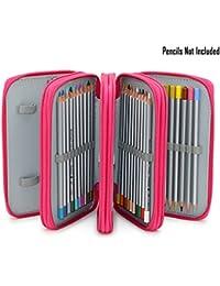 Sumnacon 72 trous Trousse/ Sac de crayon pour l'école et bureau avec Grand capacité Multi- couches (rose framboise)