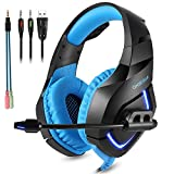 Gaming Headset für PS4 - Stereo PC Gaming Headset mit LED Licht, USB Headset Bass Over-Ear Gaming...