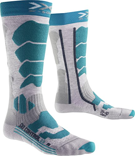 X-Socks Ski Control 2.0 Lady Chaussettes Femme, Medium Grey Melange/Turquoise, FR : M (Taille Fabricant : 37-38)