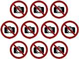 Kleberio® 10 selbstklebende PVC Aufkleber 100 mm 10 cm - Fotografieren verboten - für Innen & Außen geeignet Piktogramm Hinweis Aufkleber