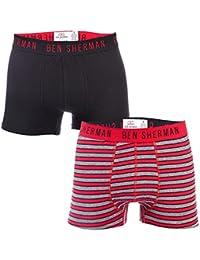 Ben Sherman Mens Rueben 2 Pack Boxer Shorts in Red Black