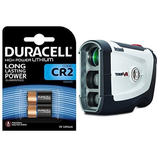 Duracell High Power Lithium CR2 Batterie 3V, 2er-Packung, schlüssellosen Schlössern, Blitzlicht und Taschenlampen. + Bushnell Tour V4 Jolt Laserentfernungsmesser, White, 4 x 7.9 x 10.4 cm - Cr2 Lithium-batterie-ladegerät