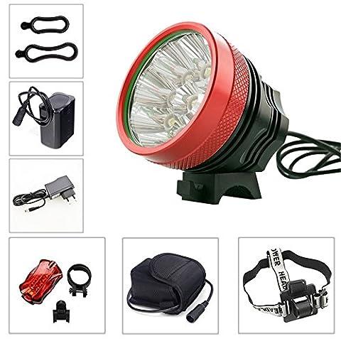 LARS360® 9 Cree XML T6 LED Fahrradlicht Fahrradlampe Frontlichter 3 Licht-Modi mit Rücklicht für Radfahren, Camping und täglichen Gebrauch (9 LEDs)