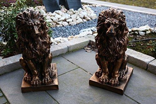 Tourwell Vertrieb 2er Set Deko Figur Statue Gartendeko Löwe Skulptur auf Podest 57 cm - Outdoor-löwen-statuen