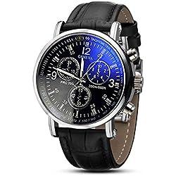 Familizo Luxury Faux Leather Mens Analog Blu-ray Watches Black