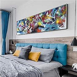 Chaoaihekele Abstraite Mur Graffiti Art Toile Peintures Moderne Pop Art Ligne Impressions Sur Toile Posters Et Estampes Coloré Photos Mur Décor Aucun Cadre 40X120Cm