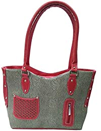 Double Colour Contrast Shoulder Handbag | Green & Red Colour | For Women | By AZED Collections