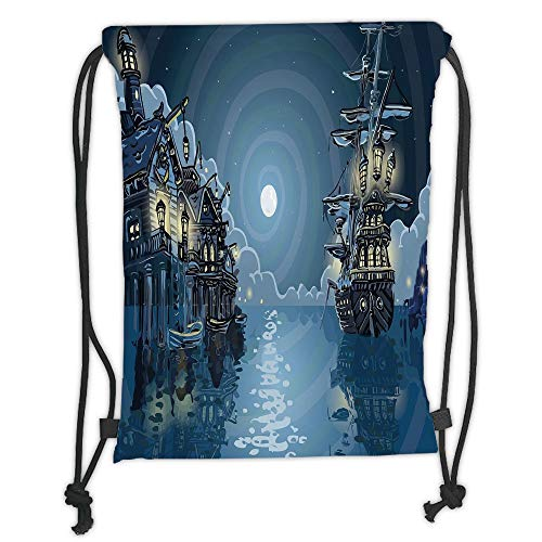 (Trsdshorts Drawstring Backpacks Bags,Pirate,Fantasy Adventure Island Faery Mystery Ships Pirate Cove Bay Swirled Moon Rays Decorative,Blue White Green Soft Satin,5 Liter Capacity,Adjustable S)