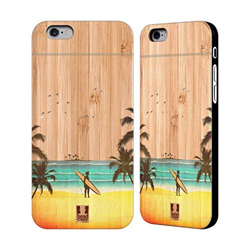 Head Case Designs Surfbrett Surfers Hülle mit Rückseite aus Bambus Holz für Apple iPhone 5 / 5s / SE Mann Silhouette