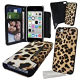 Love My Case / Apple iPhone 5c Leopard Pu Leather Wallet Case with Detachable Hard case with Exclusive LMC Cleaning Cloth