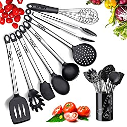 Kitchen Utensils Set- Tatufy 9 Cooking Utensils Set, Silicone & Stainless Steel Spatula Set, Nonstick Non-Scratch and Heat Resistant Cookware Set with Holder, Great Kitchen Tools for Gift