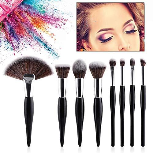 8pcs Maquillage Pinceau Manche Noir Brosse Cosmétique Pour Le Maquillage Des Yeux Et Du Visage