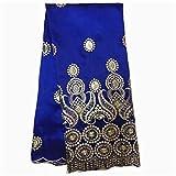 PENVEAT Tessuto Royal Blue George Pizzo con Paillettes di Alta qualità Africana George Tessuto George Wrapper per Abito da 5 yarde/Lotto, Oro Blu
