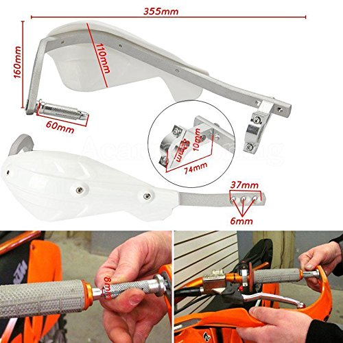 Preisvergleich Produktbild Paar Weiß Universal Motorrad/ATV Bike Handprotektoren Nachrüstsatz Handschützer Handprotektor Handschutz 22mm 7/8 für Yamaha Suzuki Honda
