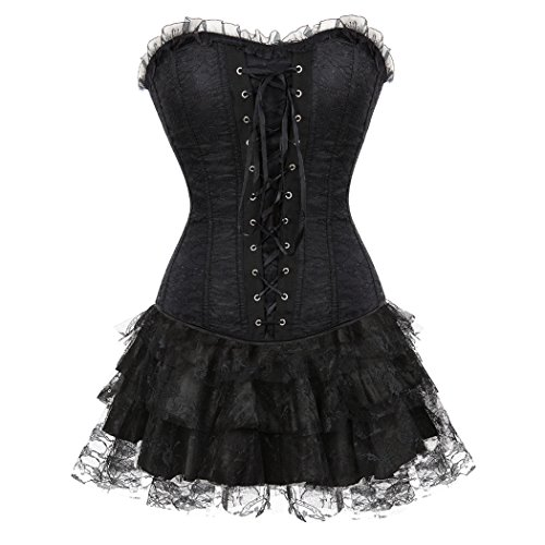Frauen schwarz Trim Rüschen Satin Halloween-Kleid Korsett & Spitze Mini Tutu Rock Set für Moulin Rouge Showgirl Clubwear Black-M-Black (Günstige Halloween-korsett)