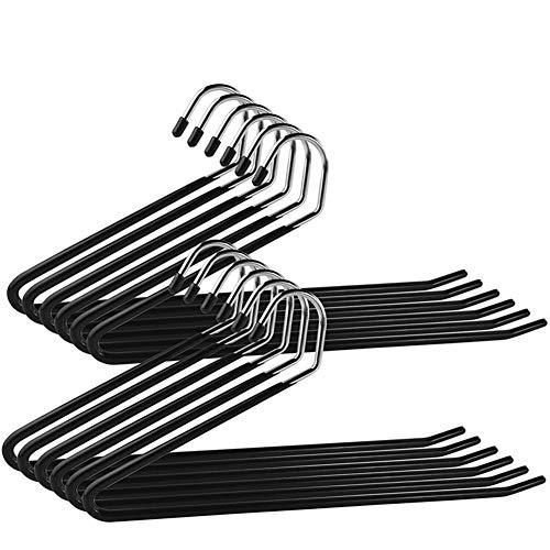 Depory Set de Perchas Antideslizantes 10 Unidades para Pantalones y Jeans 35 cm,Color Negro