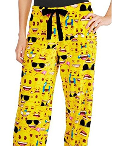 Outgobuy Poo Poop Emoji Schlaf Hosen Fleece Pyjamas Hosen (S, Gelb) (Hose Pyjama Gelbe)