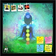 ArtzFolio Yoga Lotus Pose D9 Printed Bulletin Board Notice Pin Board Soft Board | Black Frame 16inch x 16.1inc