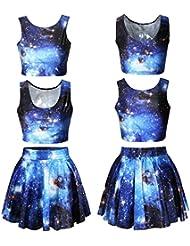 Fuson Galaxy Universe Impresión Vestido Niñas Vintage Digital plisada Tank Top y faldas