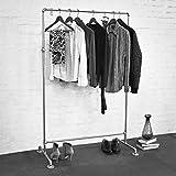 HANSESTADT - Kleiderständer / Standgarderobe aus verzinkten Stahlrohren inkl. 3 Kleiderhaken - robust und stabil - Industrial Look - Loft Design